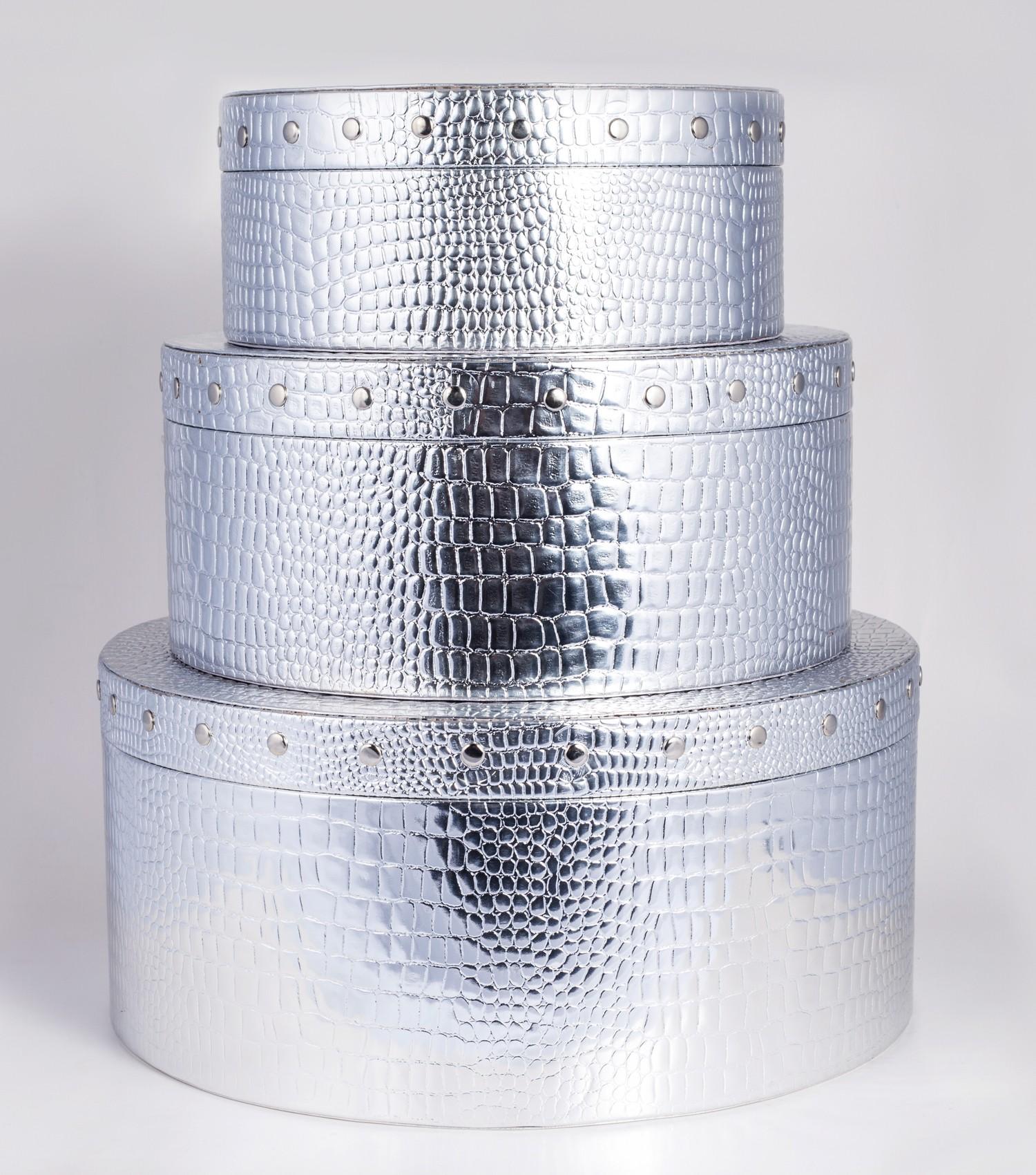 Round Storage Box Silver Croco Large