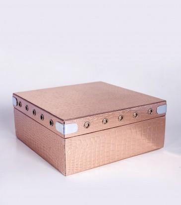 Square Storage box copper croco Medium