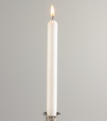 Metallic Taper Candle WHITE