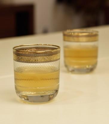 Crystal Whisky Glasses Gold/Pltm Set of 6