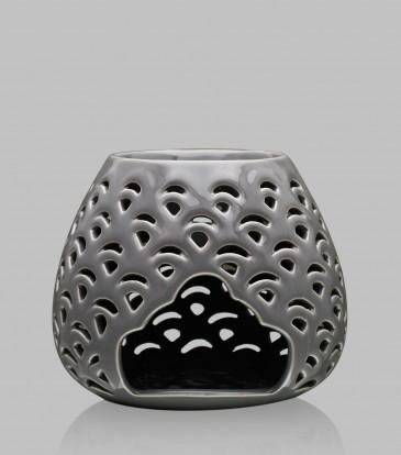 Round Baroque oil burner Light Grey