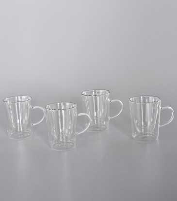 Double walled coffee mugs S/4
