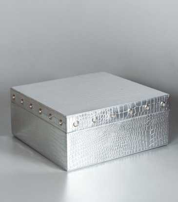 Square Storage Box Small Silver