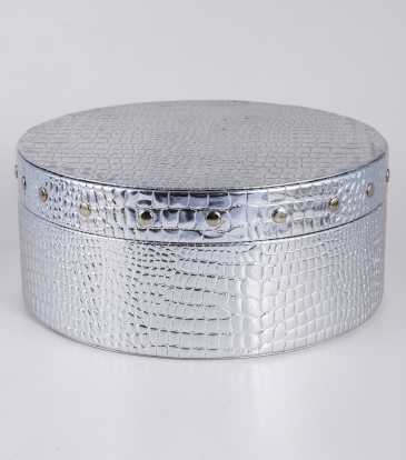 Round Storage box silver croco Medium