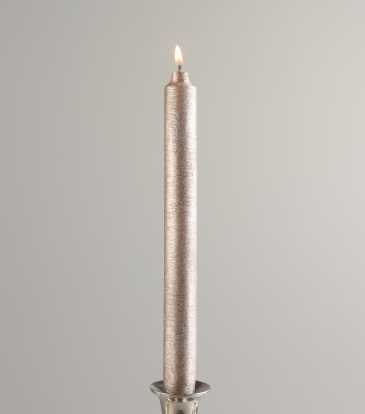 Metallic Taper Candle SILVER GREY