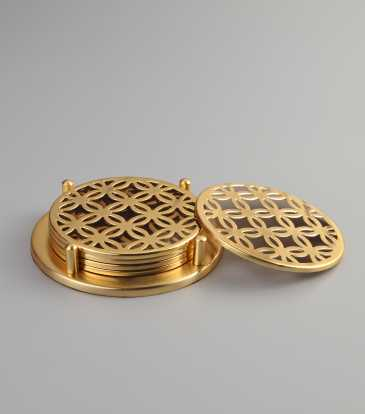 Fretwork Coaster Set on stand - Gold
