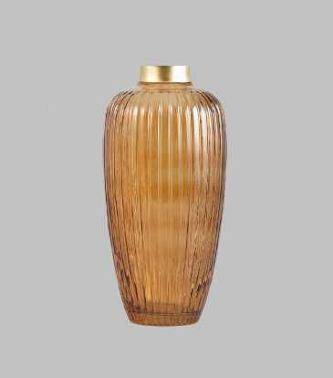 Ribbed Vase Amber Lrg