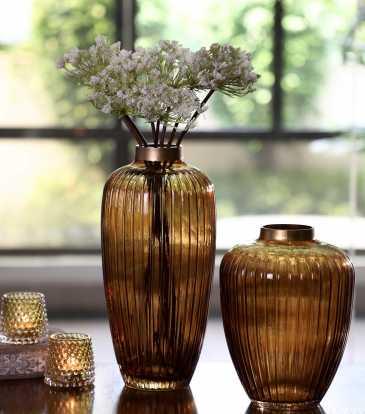 Ribbed Vase Amber Sml