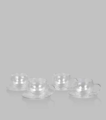 Double Walled Cup & Saucers Set of 4
