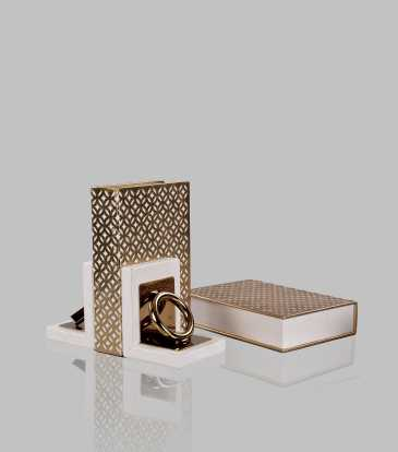 Fretwork book cover white and gold