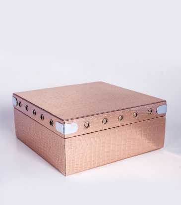 Square Storage box copper croco Large