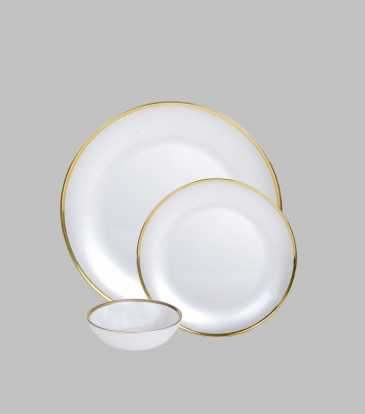 Atlas Dinner Set Gold Rim Set of 12