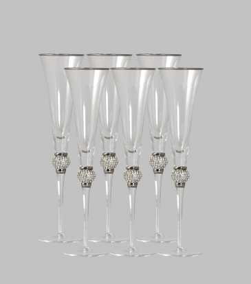 Fionna Champagne Glass Silver Set of 6