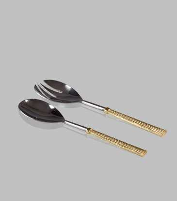 Gold Ribbed Server Set of 2