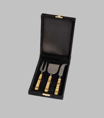 Celebration Cheese Knife & Fork - Gold S/3
