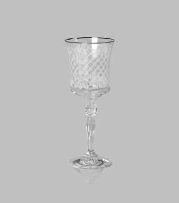 Crystal Wine Glasses Platinum Set of 6