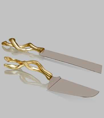 Twirl cake server and knife set of 2