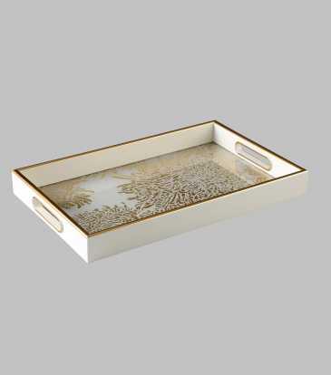 Reza Wht/Gold Tray Large