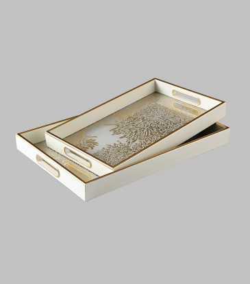 Reza Wht/Gold Tray Small