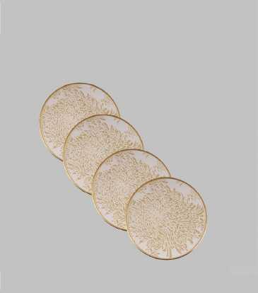 Reza Coasters Wht/Gold S/4