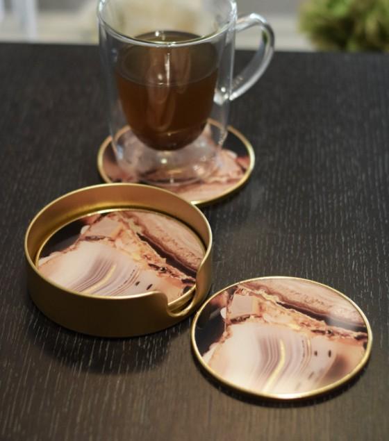 Reza Coasters Brown S/4