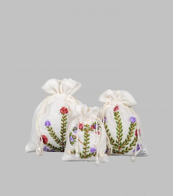 Linen Potli with embroidery Medium